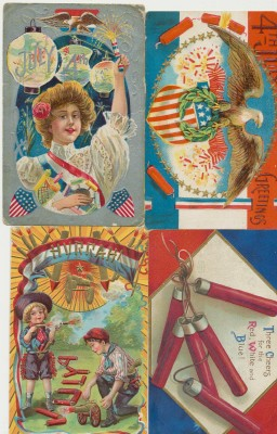 Vintage July 4th & Fireworks Embossed Postcard Lot